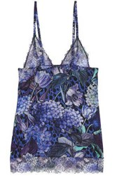 Just Cavalli Floral Print Lace And Silk Blend Chemise Indigo