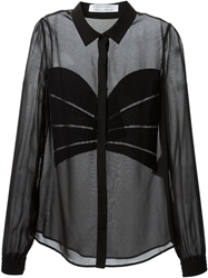 Viktor And Rolf Beaded Applique Sheer Shirt Black