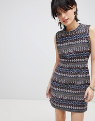 Deby Debo Iliana Print Dress With Embellished Neck Trim Multi