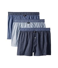 Kenneth Cole Reaction 3 Pack Woven Boxer Navy Mystic Blue White Broadway Plaid Underwear Multi