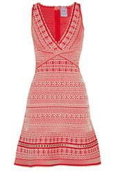 Herve Leger Stretch Jacquard Knit Mini Dress Red