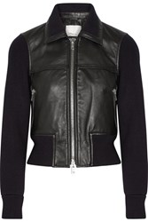 3.1 Phillip Lim Paneled Ribbed Stretch Wool And Leather Jacket Black