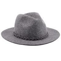 John Lewis Plait Trim Fedora Hat Grey