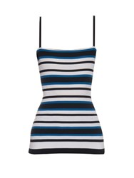 Dolce And Gabbana Striped Ribbed Knit Top Blue Multi