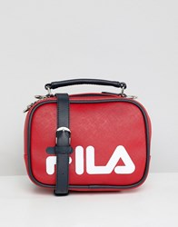 Fila Tribeca Red Boxy Shoulder Bag With Detachable Straps