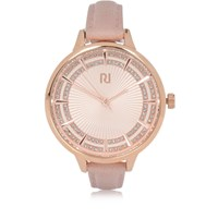River Island Womens Light Pink Diamante Thin Strap Watch