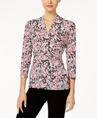 Charter Club Floral Print Crossover Top Only At Macy's Peach Blush Combo