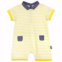 Chateau De Sable French Designer Striped Romper Yellow Yellow Orange