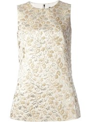 Dolce And Gabbana Floral Jaquard Tank Top Nude And Neutrals