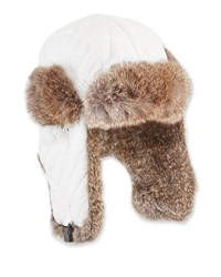 Surell Quilted Rabbit Trim Trapper Hat White
