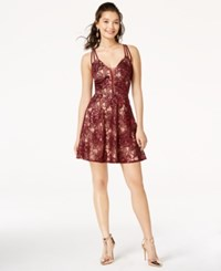 B. Darlin B Juniors' Strappy Back Lace Dress Wine Nude