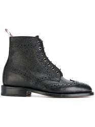 Thom Browne Wingtip Boot With Leather Sole In Pebble Grain Leather Black