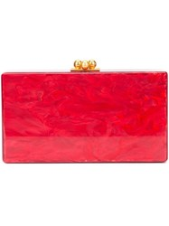 Edie Parker Marbled Effect Clutch Red