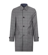 Burberry Reversible Prince Of Wales Wool Car Coat Male Grey