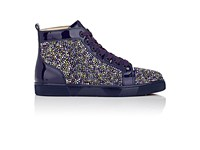 Christian Louboutin Men's Louis Flat Patent Leather Sneakers Purple