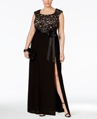R And M Richards Plus Size Cap Sleeve Lace Bodice Gown Black Taupe