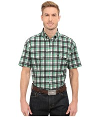 Cinch Athletic Plaid Double Pocket White Men's Short Sleeve Button Up