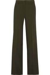 Versace Woman Satin Trimmed Crepe Wide Leg Pants Army Green
