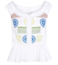 Peter Pilotto Iris Embroidered Top White