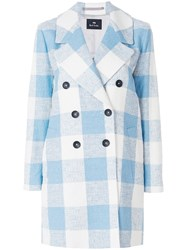 Paul Smith Ps By Double Breasted Check Coat Blue