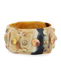 Ashley Pittman Lipua Faceted Light Horn Bangle Brown