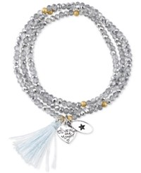 Unwritten 'Live In The Moment' Beaded Wrap Tassel Bracelet With Silver Plated Brass Accents