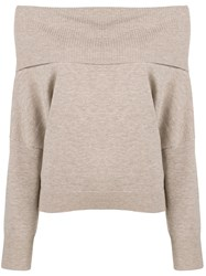 Chalayan Off The Shoulder Knitted Sweater Nude And Neutrals