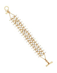 Lucky Brand Key Item Mother Of Pearl And Semi Precious Rock Crystal Ladder Bracelet Gold