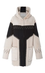 Prabal Gurung Studded Shearling Coat Multi