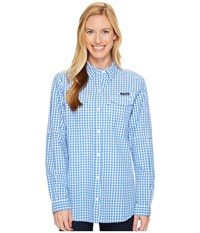 Columbia Super Bonehead Ii L S Shirt Harbor Blue Gingham Women's Long Sleeve Button Up