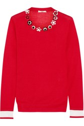 Fendi Embellished Cashmere And Silk Blend Sweater Red