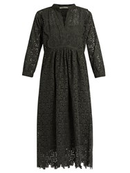 Queene And Belle Nina Broderie Anglaise Cotton Dress Dark Green