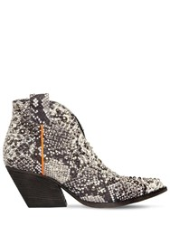Elena Iachi 60Mm Studded Snake Print Leather Boots Roccia