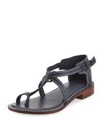 Bernardo Trina Buckled Low Flat Sandal Navy