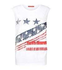 Hilfiger Collection American Flag Fringe T Shirt Female White