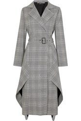 Roland Mouret Pullman Asymmetric Belted Prince Of Wales Checked Wool Blend Coat Gray
