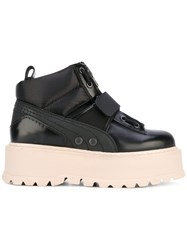 Fenty X Puma Sneaker Boots Women Calf Leather Polyester Rubber 9.5 Black