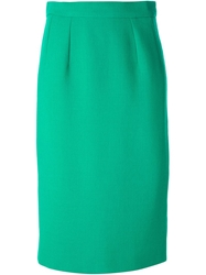 Celine Vintage Straight Fit Midi Skirt Green