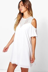 Boohoo Lace Cold Shoulder Swing Dress White