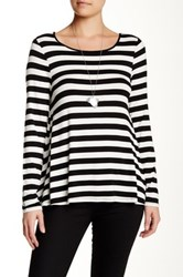 Cable And Gauge Long Sleeve Lace Back Stripe Tee Black