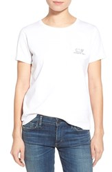 Women's Vineyard Vines Whale Graphic Short Sleeve Pocket Tee White Cap
