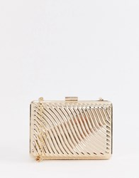 True Decadence Gold Metallic Box Clutch Bag