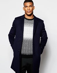 Reiss Unstructured Wool Overcoat Navy