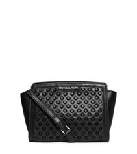 Michael Kors Selma Studded Leather Medium Messenger Black