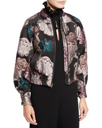 Co Floral Brocade Zip Bomber Jacket Multi Multi Colors