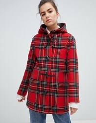 Gloverall Mid Length Duffle Coat In Check Red