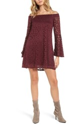 As U Wish Women's Lace Bell Sleeve Off The Shoulder Dress Burgundy