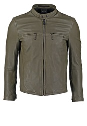 Replay Leather Jacket Military Anthracite