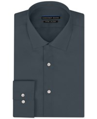 Geoffrey Beene Men's Fitted Non Iron Stretch Sateen Dress Shirt Charcoal