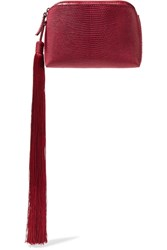 The Row Wristlet Mini Tasseled Lizard Clutch Claret